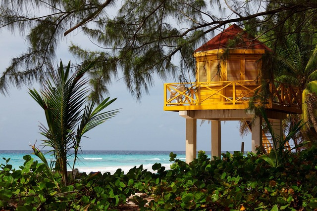 Lifeguard beach tower, travel vacation.