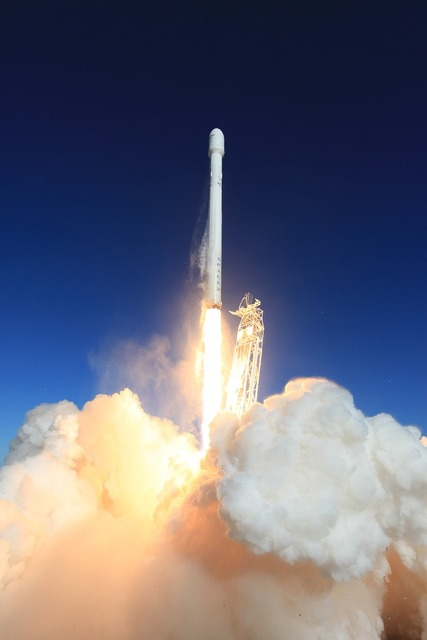 Lift-off rocket launch spacex, transportation traffic.