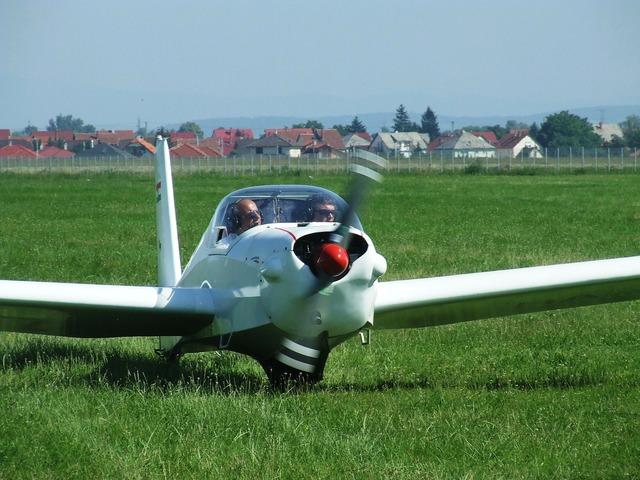 Light aircraft flight airport.