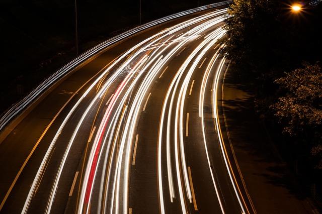 Light ray road, transportation traffic.