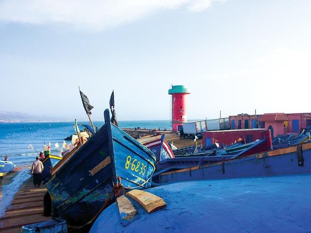 Lighthouse boats sea, travel vacation.