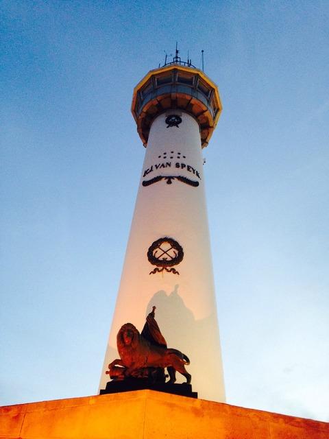 Lighthouse illuminated idyllic, architecture buildings.