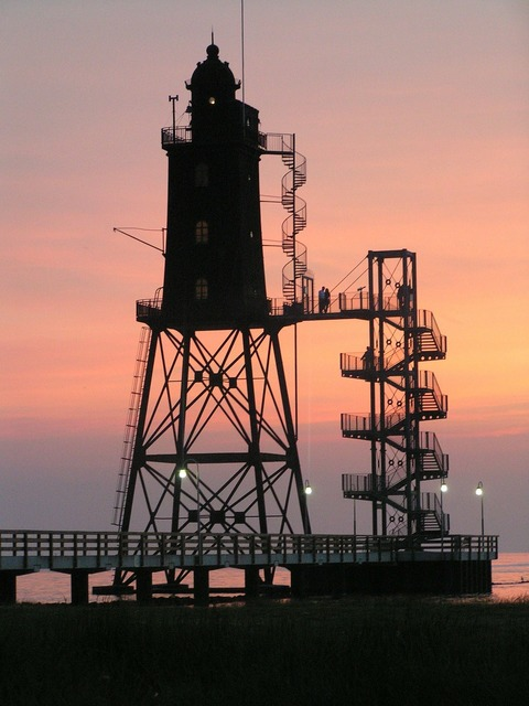 Lighthouse north sea coast dusk.