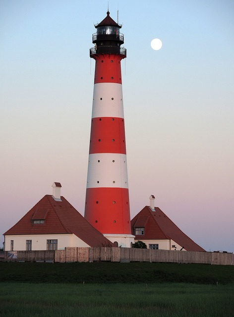 Lighthouse westerhever full moon, architecture buildings.