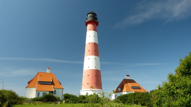 Lighthouse westerhever north sea, architecture buildings.