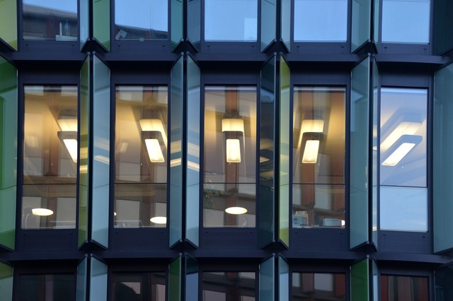 Lights window mirroring, architecture buildings.