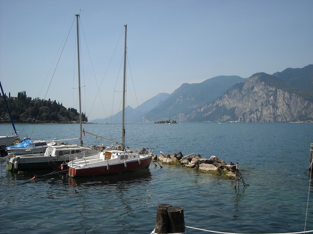 Limone sul garda lakeside sailing boats.