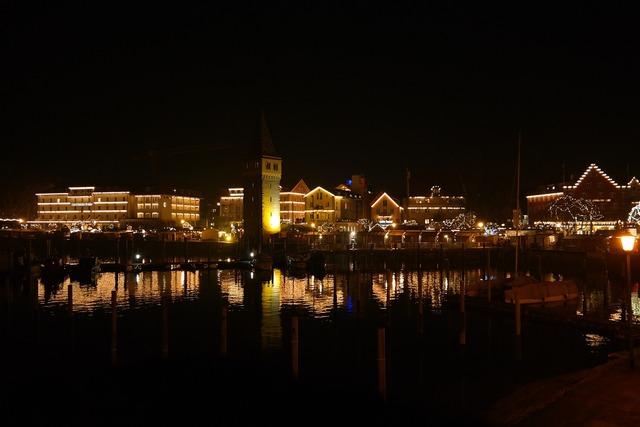 Lindau promenade port, architecture buildings.