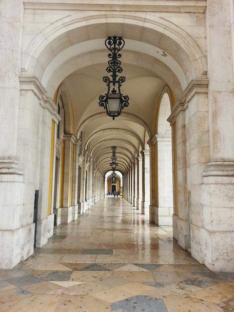 Lisbon arcades portugal, architecture buildings.