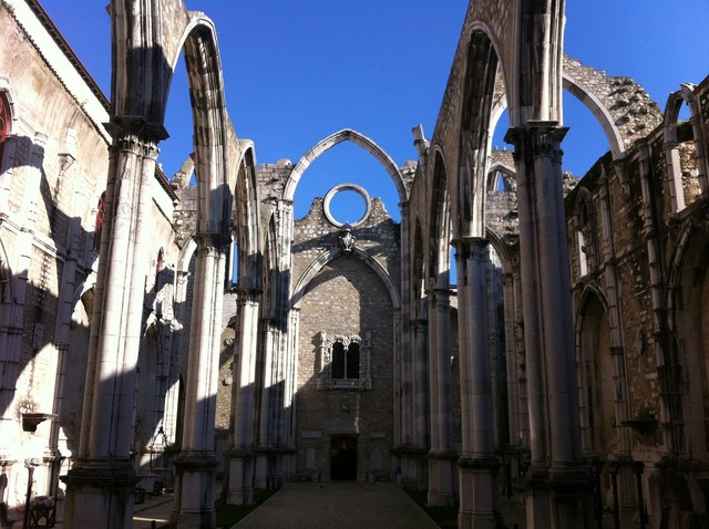 Lisbon carmo old town, architecture buildings.