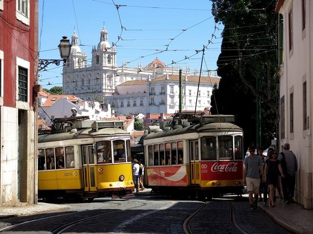 Lisbon old town tram, transportation traffic.