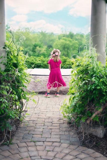Little girl summer pavilion.