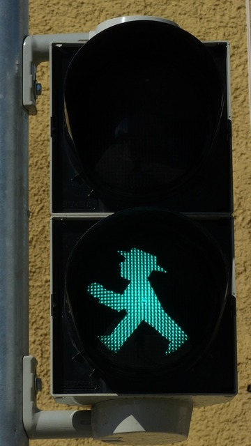 Little green man traffic lights footbridge, transportation traffic.