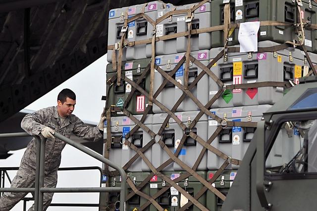 Loading cargo pallet, transportation traffic.