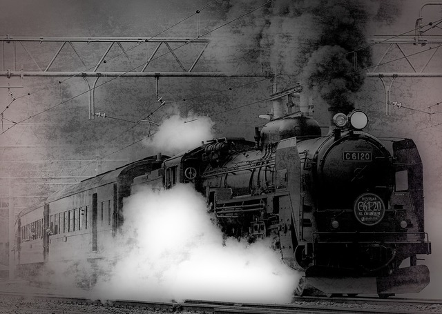 Locomotive steam train ancient, transportation traffic.