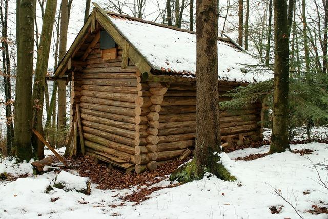 Log cabin block house forest, nature landscapes.