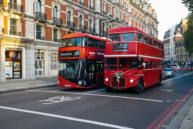 London bus double decker, transportation traffic.