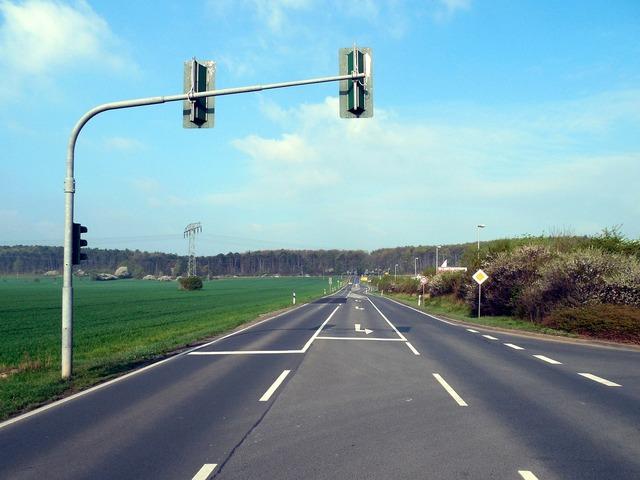 Lonely road traffic lights, transportation traffic.
