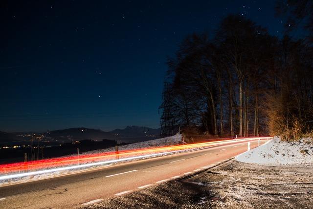 Long exposure auto evening, transportation traffic.