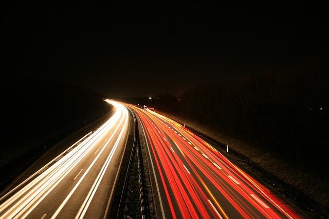 Long exposure road traffic, transportation traffic.