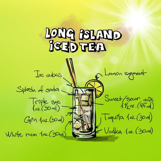 Long island iced tea cocktail drink, food drink.