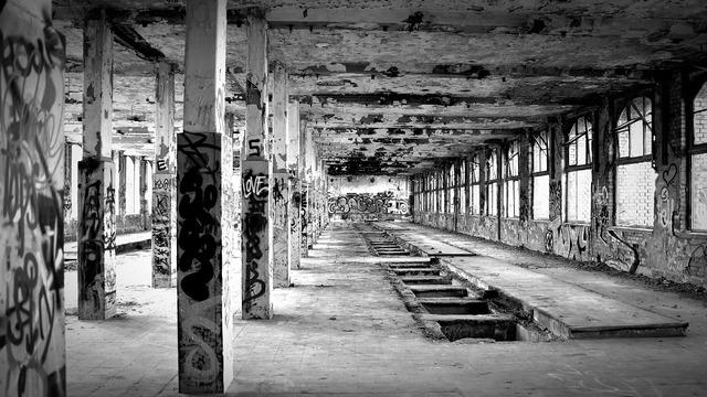 Lost places factory black white, architecture buildings.