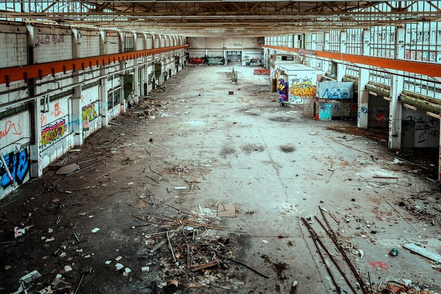Lost places factory hall, architecture buildings.
