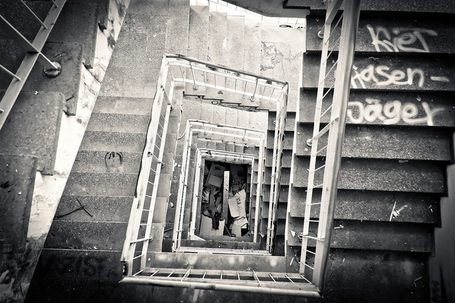 Lost places staircase leave, architecture buildings.