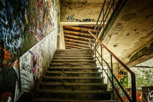 Lost places stairs staircase, architecture buildings.