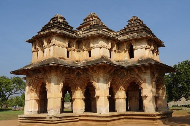 Lotus mahal zenana enclosure hampi, architecture buildings.