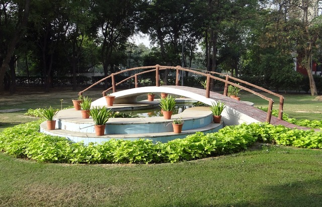 Lotus pond fountain bridge.