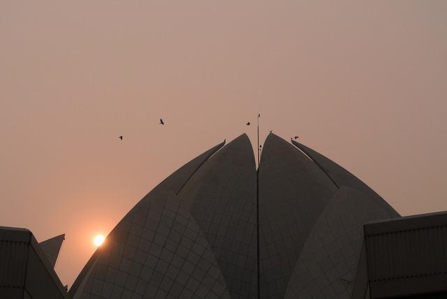Lotus temple sunset sun, travel vacation.