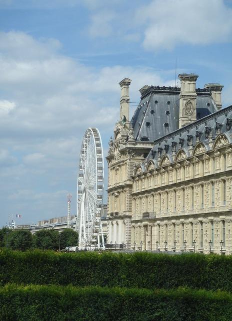 Louvre museum paris france, architecture buildings.