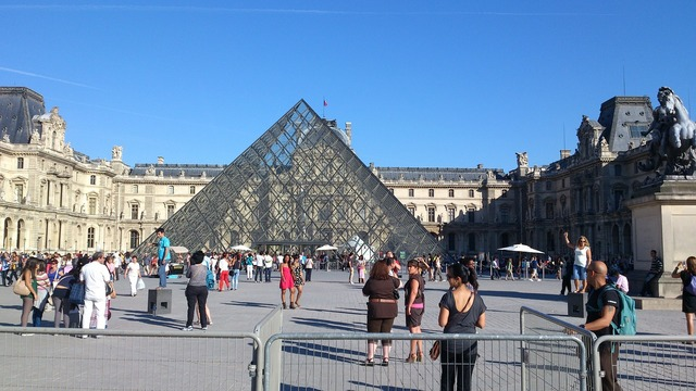 Louvre paris museum, architecture buildings.