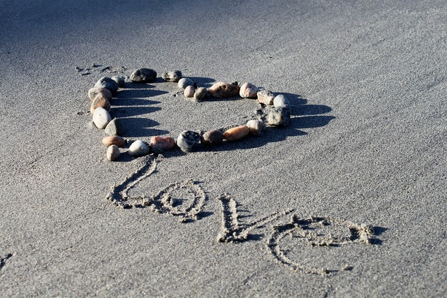 Love beach heart, emotions.