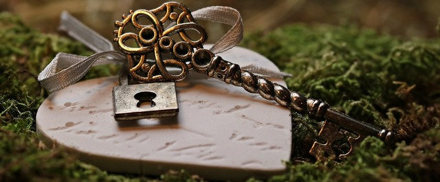 Love heart key, emotions.