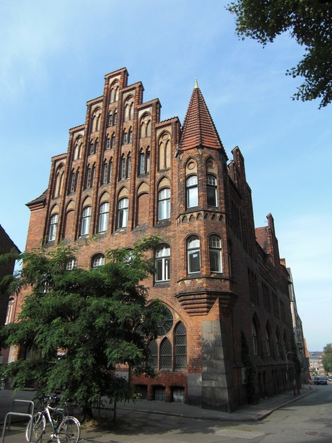 Lübeck hanseatic league old town, architecture buildings.