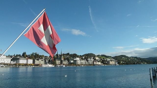 Lucerne lake lucerne region swiss flag.