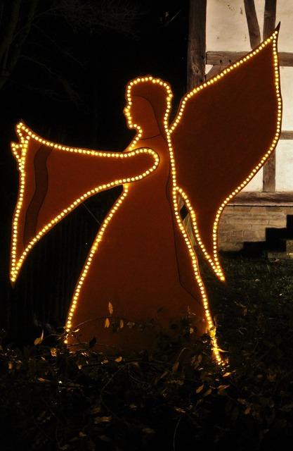 Luminous angel open air museum christmas.