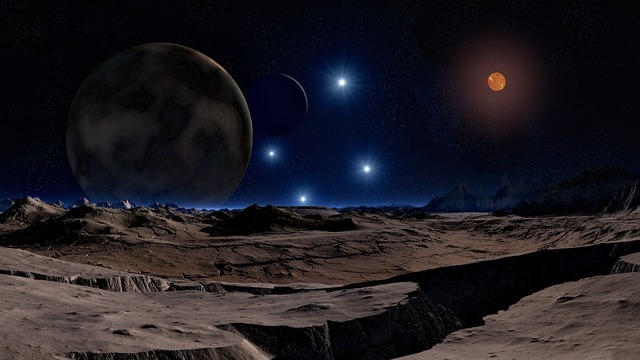 Lunar landscape star brown dwarf, science technology.