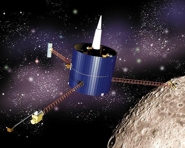 Lunar prospector spaceship satellite, science technology.