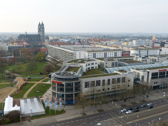 Magdeburg saxony-anhalt view, architecture buildings.