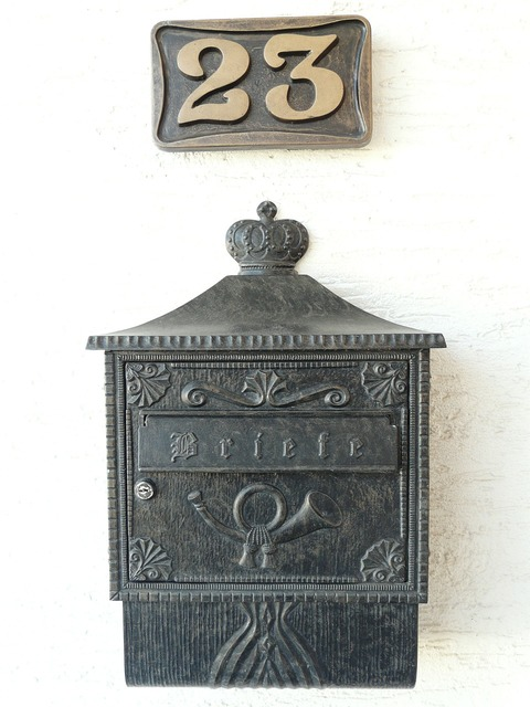 Mailbox house number post.