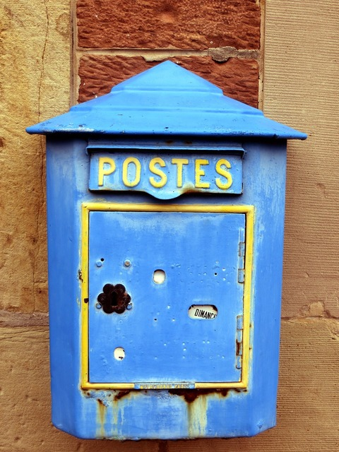 Mailbox old blue.