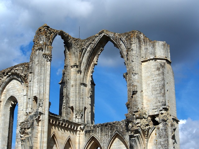 Maillezais cathedral st peter maillezais ruin, architecture buildings.