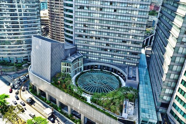 Makati city building urban scene, architecture buildings.
