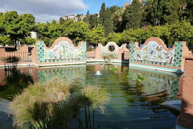 Malaga park garden, architecture buildings.