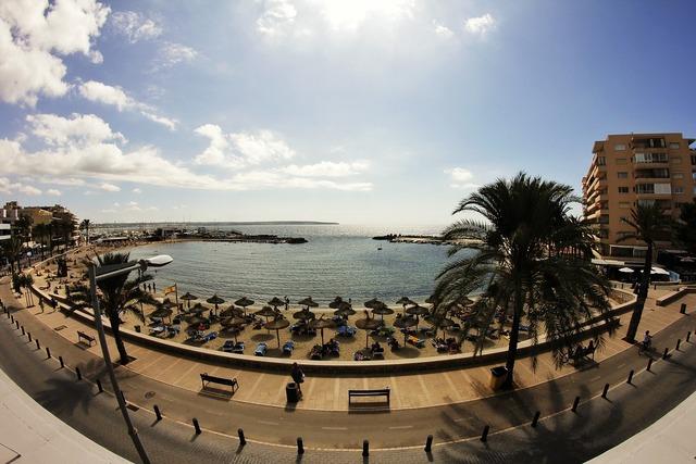 Mallorca beach sun, travel vacation.