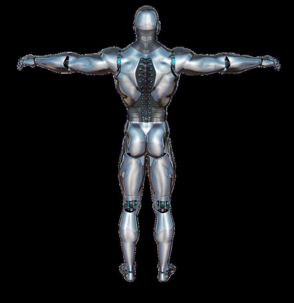 Man back robot, people.