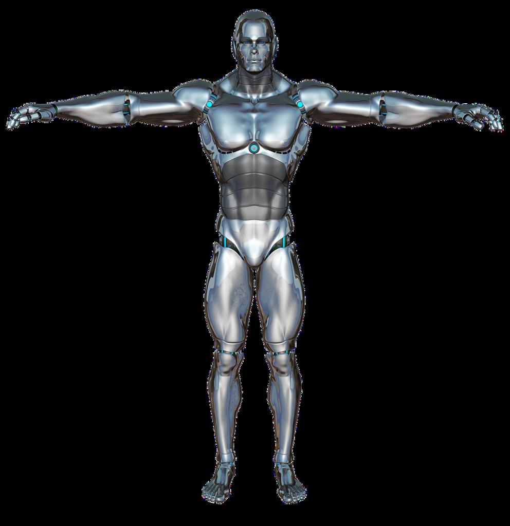 Man front robot, people.
